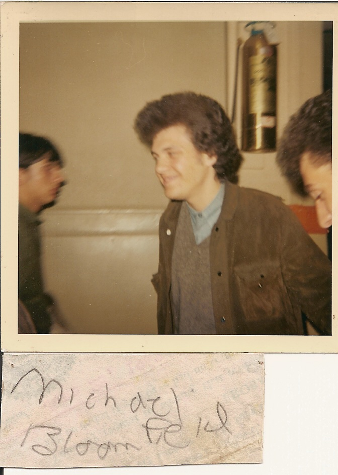 This a shot of my guitar hero Mike Bloomfield and I at Fillmore in San Francisco -1968-69.